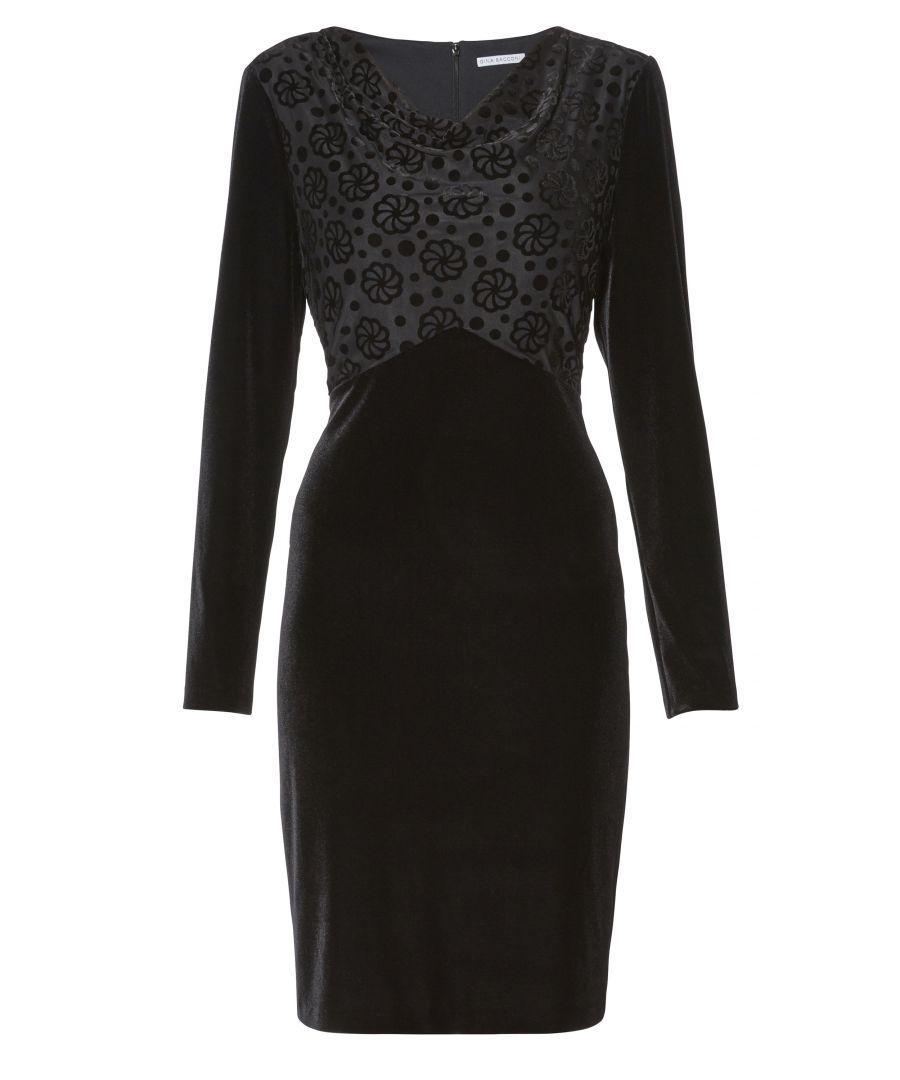 Image for Gina Bacconi Katya Velvet Dress with Jacquard Bodice in Black
