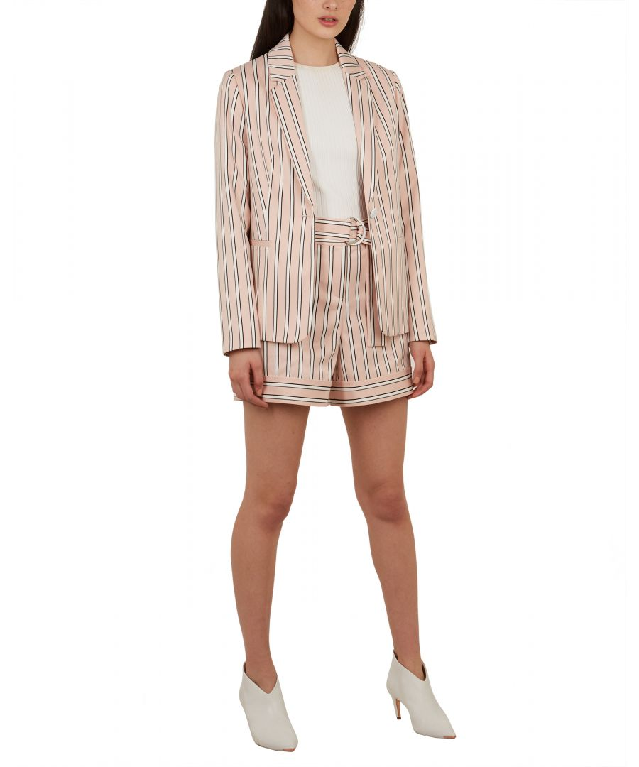 Image for Ted Baker Betiia Relaxed Stripe Tailored Jacket, Light Pink