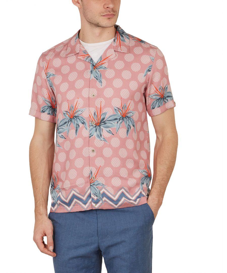 Image for Ted Baker Daviid Short-sleeved Multi Print Shirt, Pink