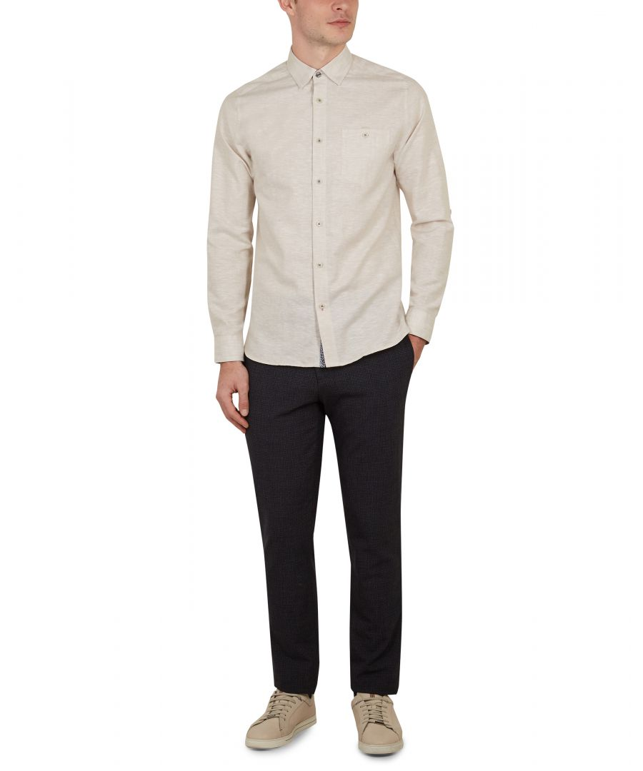 Image for Ted Baker Elated Long-sleeved Linen Shirt, Natural