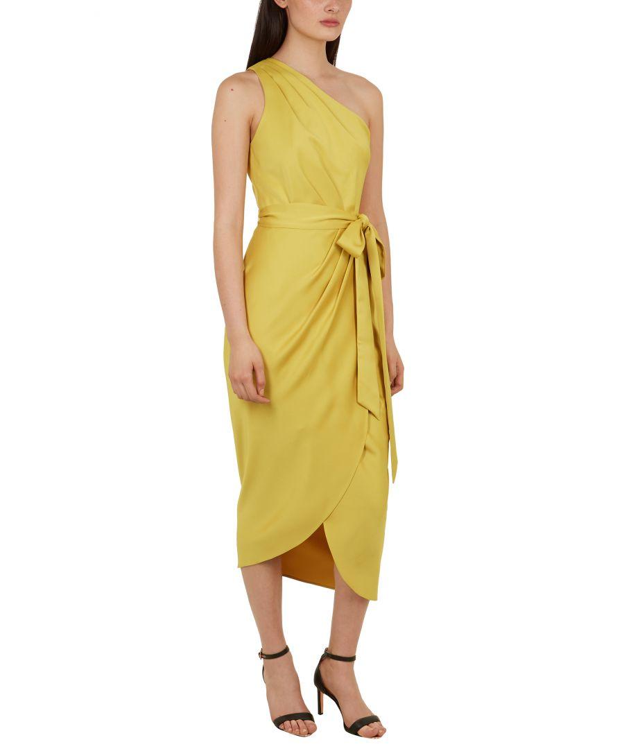 Image for Ted Baker Gabie One Shoulder Drape Midi Dress, Mid Yellow