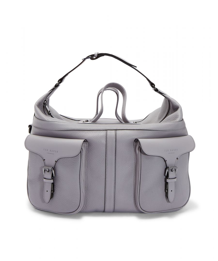 Image for Ted Baker Gansu Fashion Leather Holdall, Grey