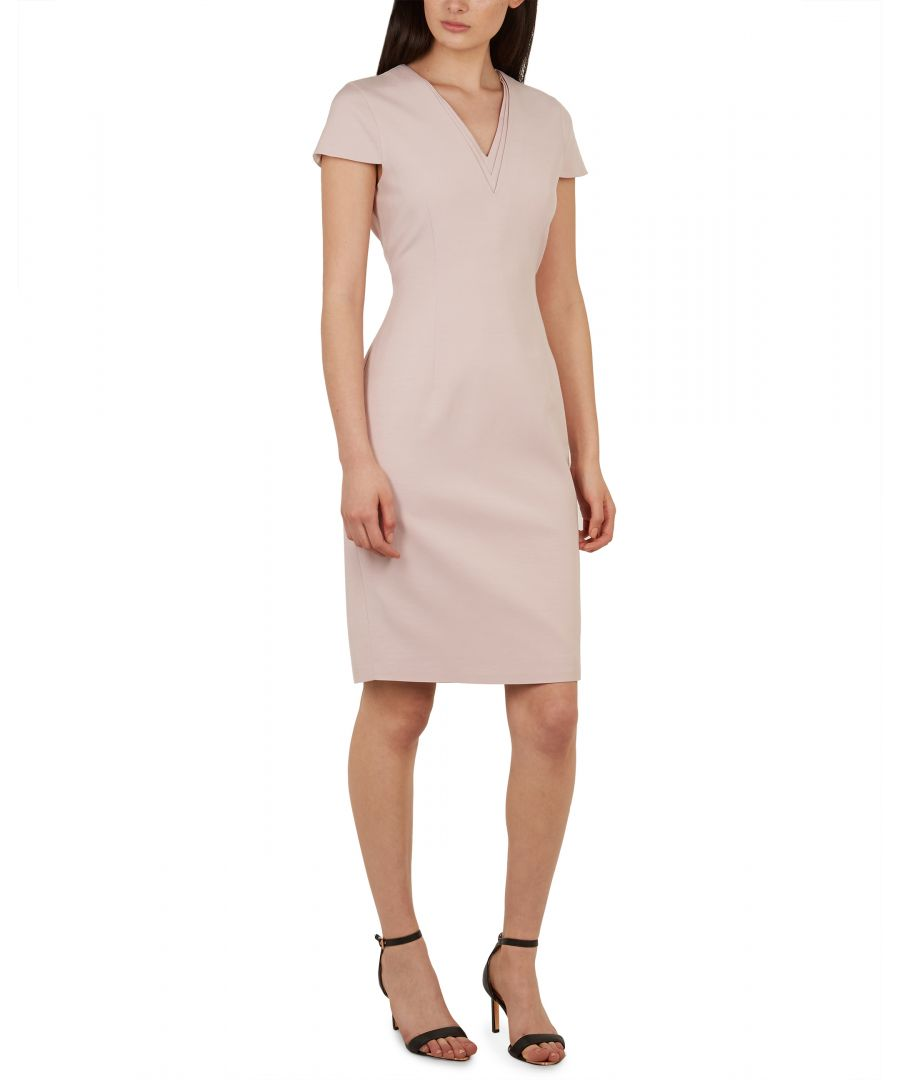 Image for Ted Baker Kloee V Neck Pencil Dress, Nude Pink