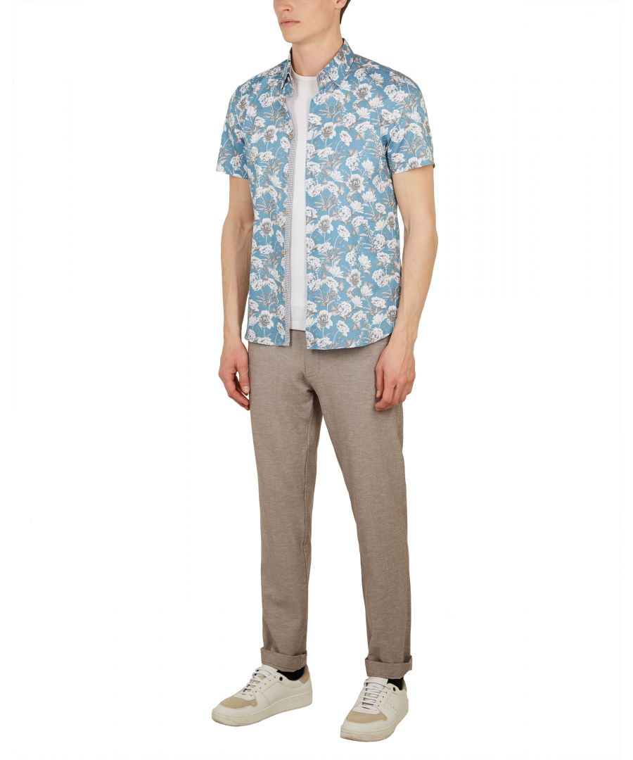 Image for Ted Baker Peachy Floral Shirt, Blue