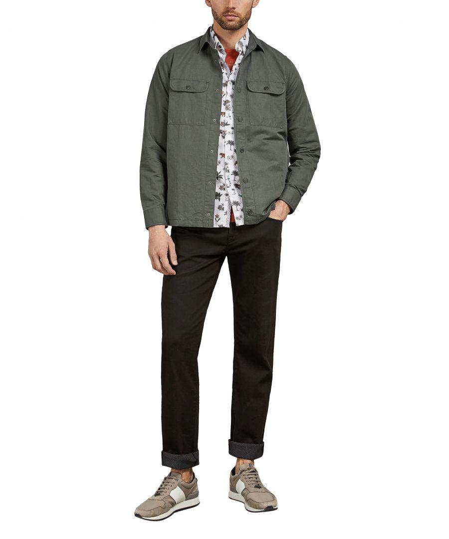 Image for Ted Baker Rhyno Long-sleeved Overshirt, Khaki