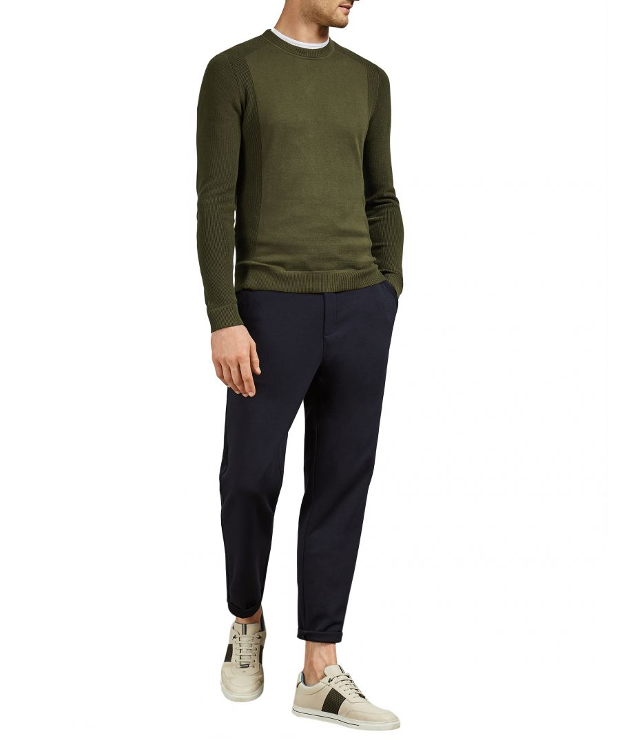 Image for Ted Baker Trull Long-Sleeved Textured Sleeve Crew Neck, Khaki