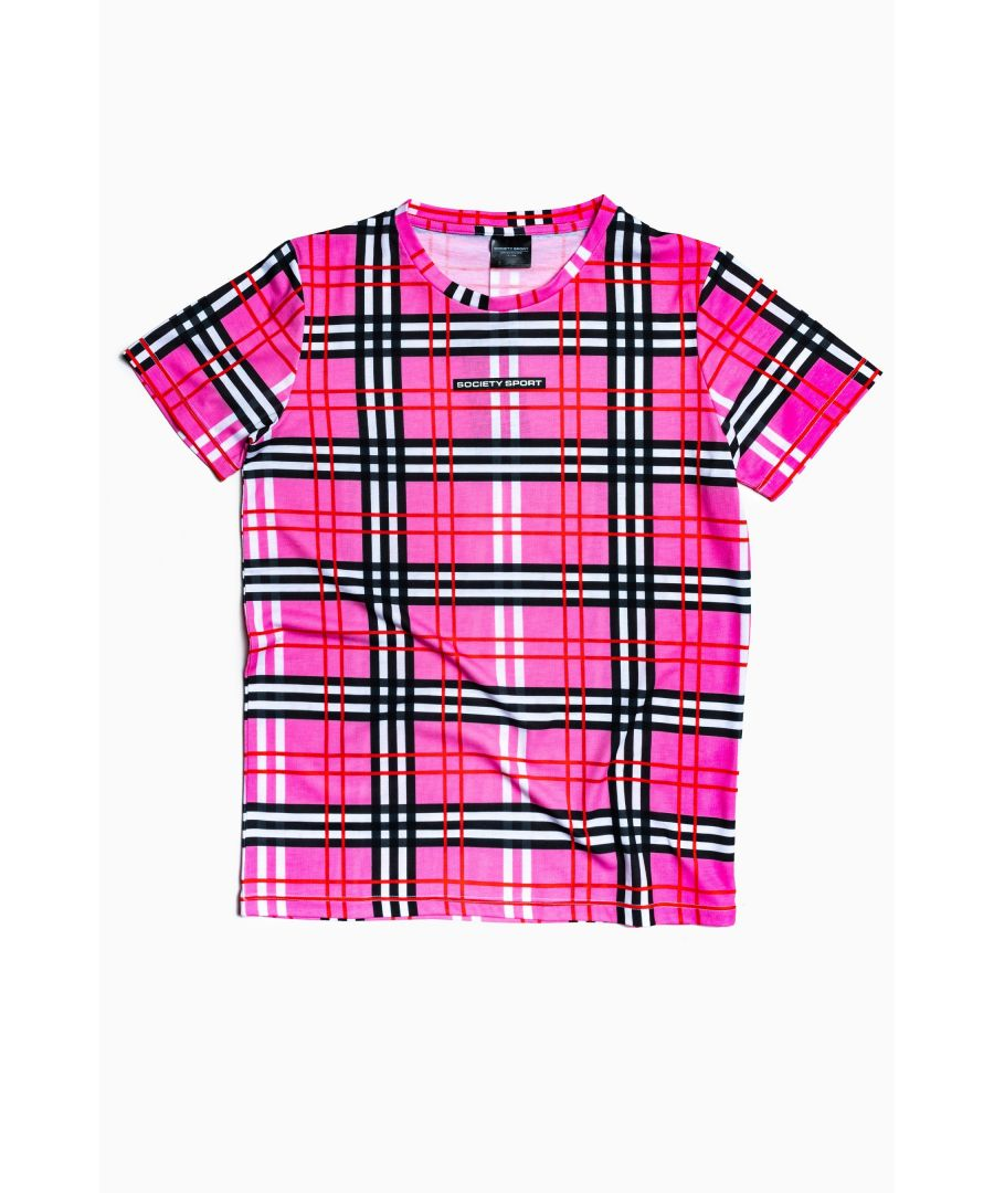 Image for Society Sport Pink Check T-Shirt