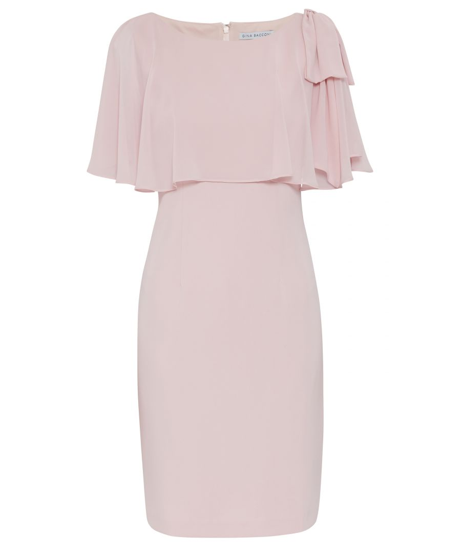 Image for Gina Bacconi Krissy Crepe and Chiffon Dress in Pink