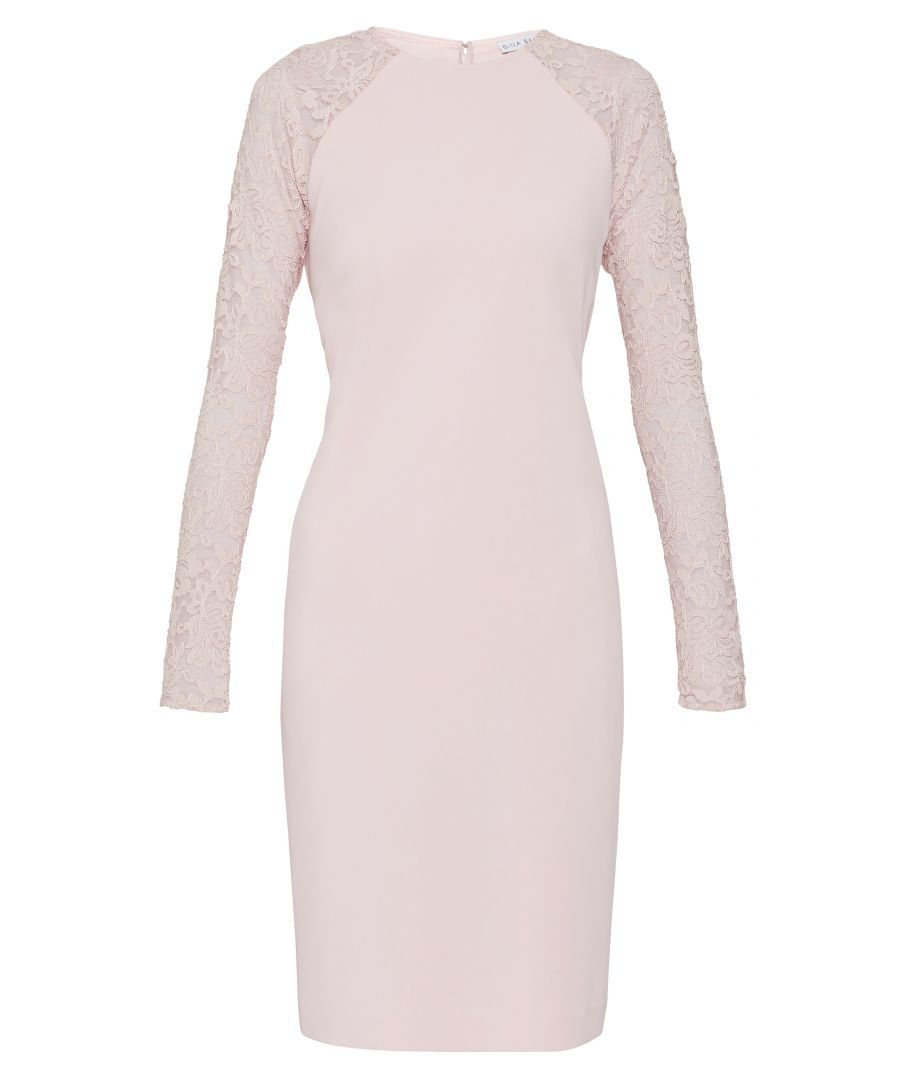 Image for Tristine Crepe Dress With Lace Sleeve