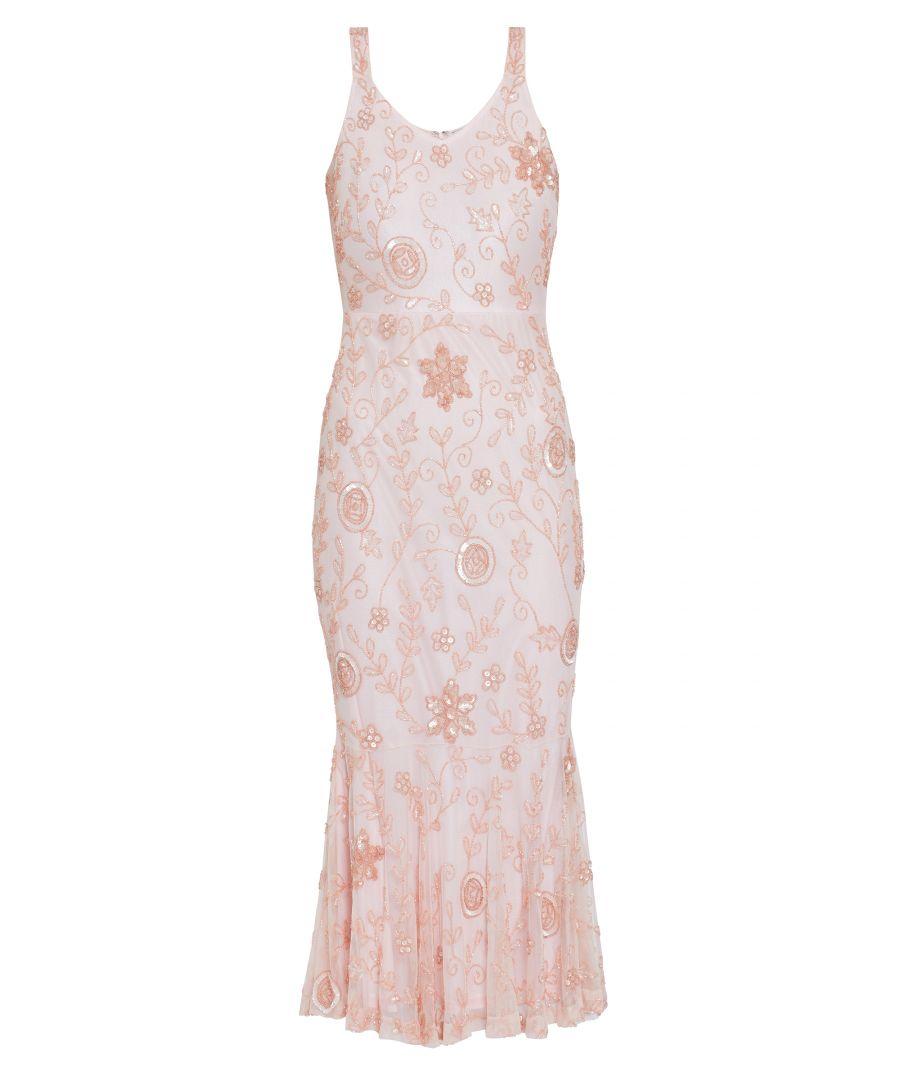 Image for Gina Bacconi Zaina Beaded Maxi Dress in Pink