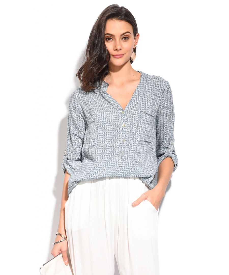 Image for Printed pattern Top with pockets and shirt collar