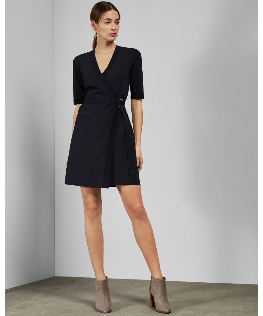 Image for Ted Baker Stefo Knitted Wrap Dress, Navy