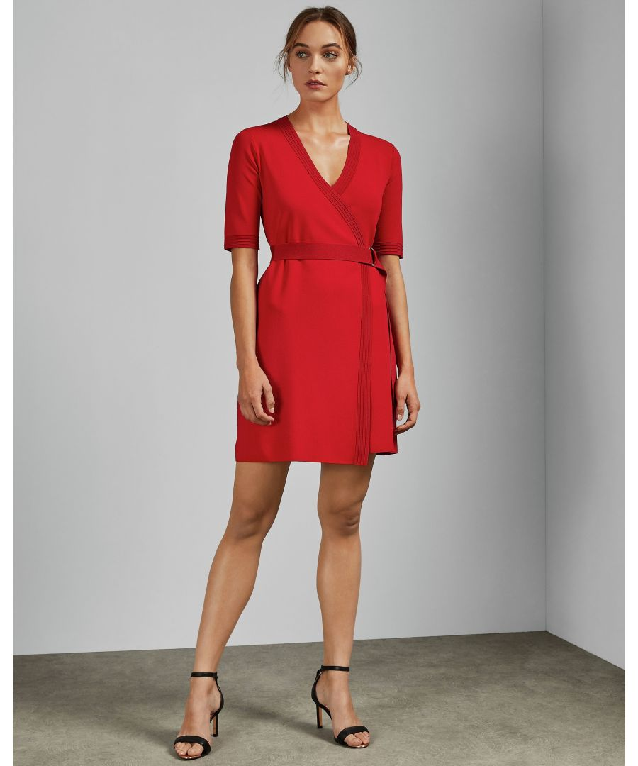 Image for Ted Baker Stefo Knitted Wrap Dress in Red