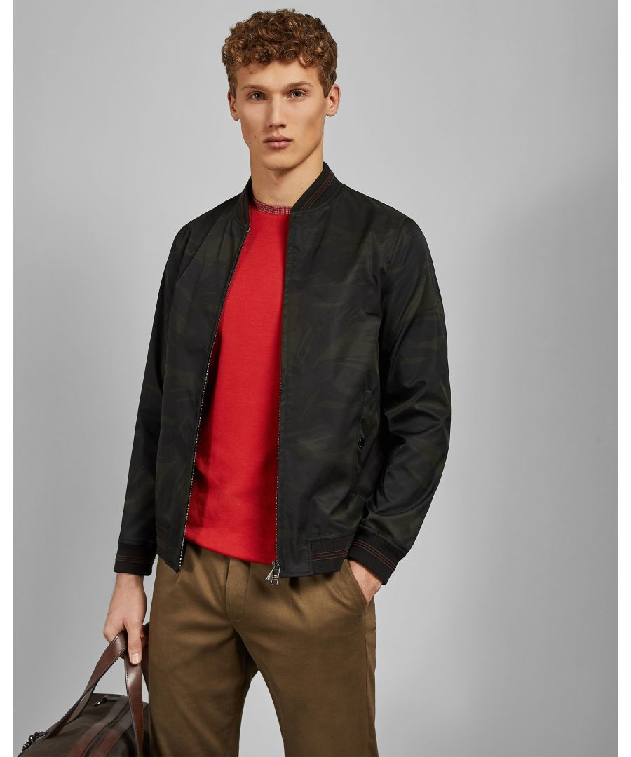 Image for Ted Baker Sway Printed Bomber, Khaki