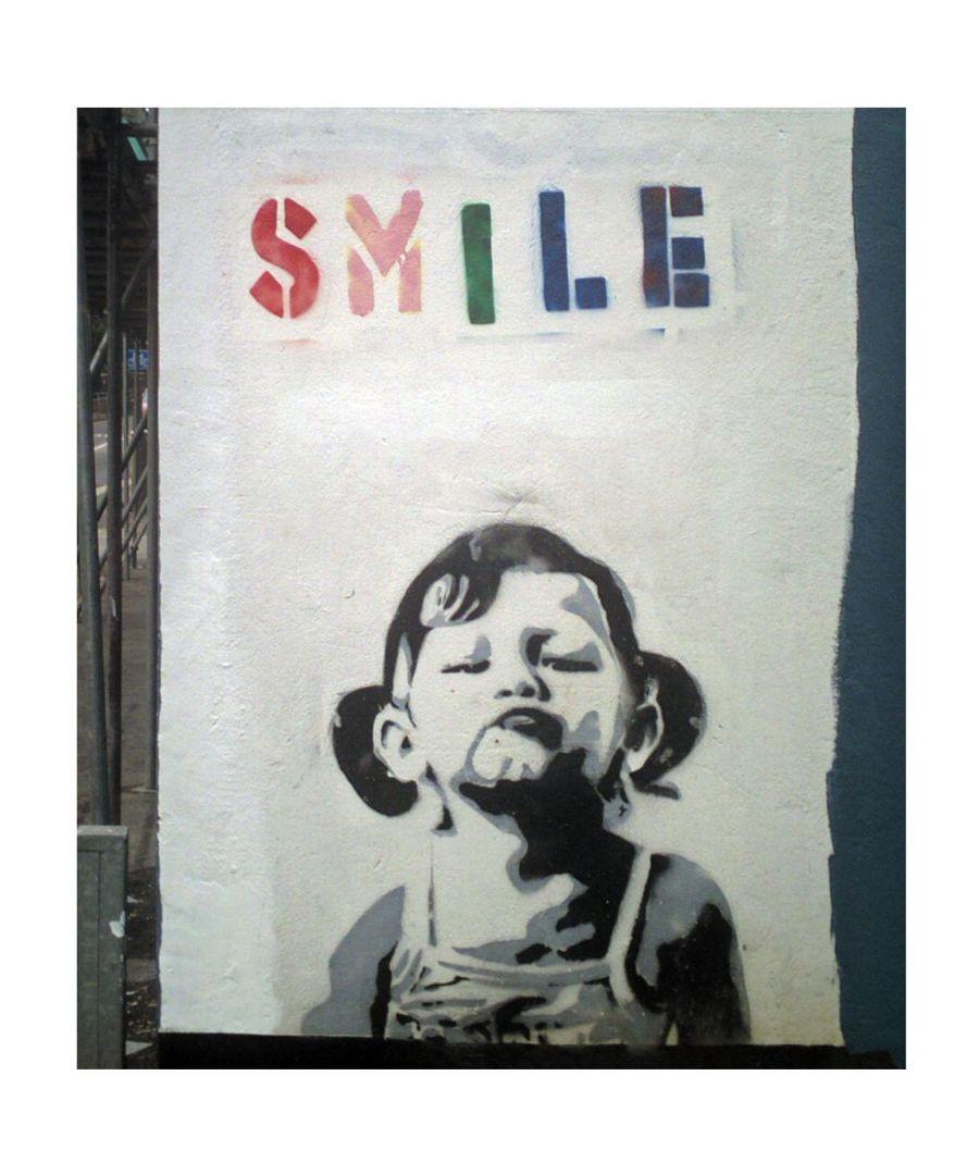 Image for Canvas Print - Smile Girl, Banksy cm. 50x60