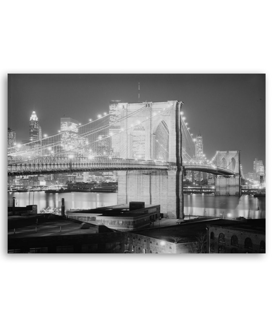 Image for Canvas Print - Lights On The Brooklyn Bridge - Wall Art Decor