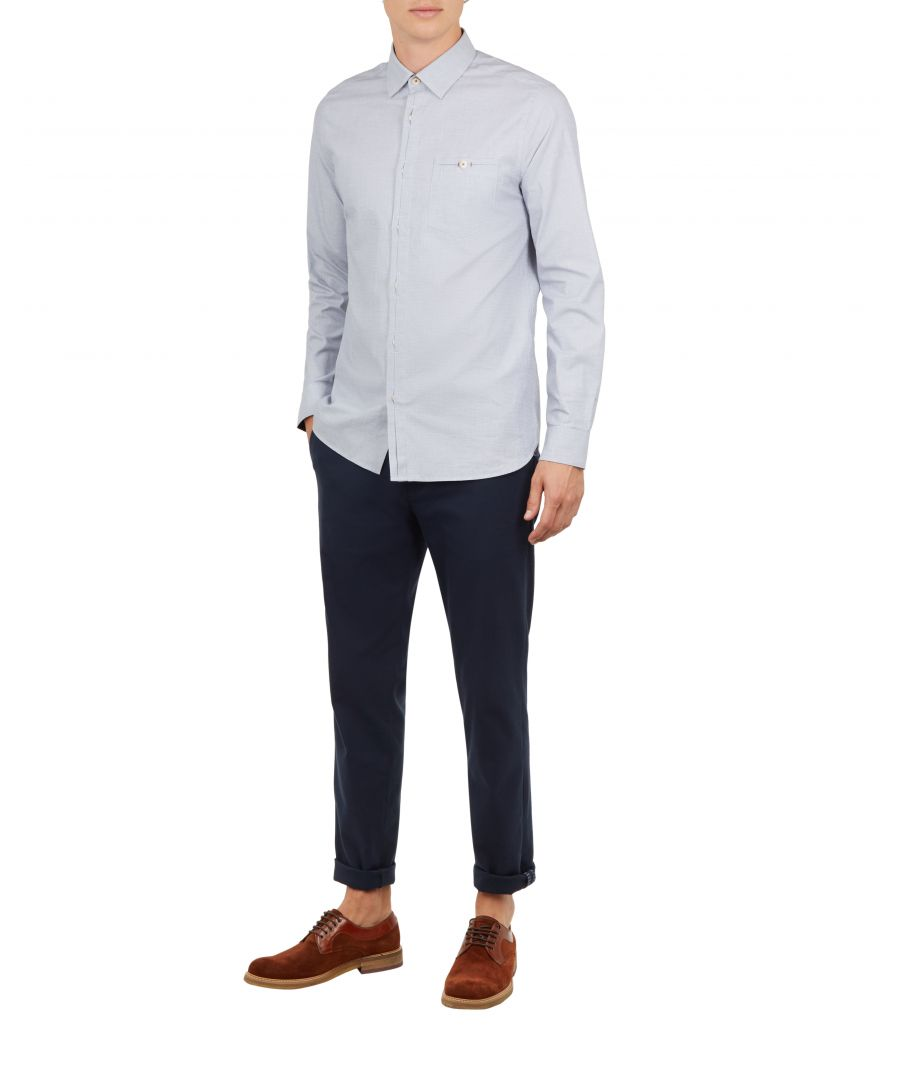Image for Ted Baker Brixton Long-Sleeved End On End Shirt, Blue