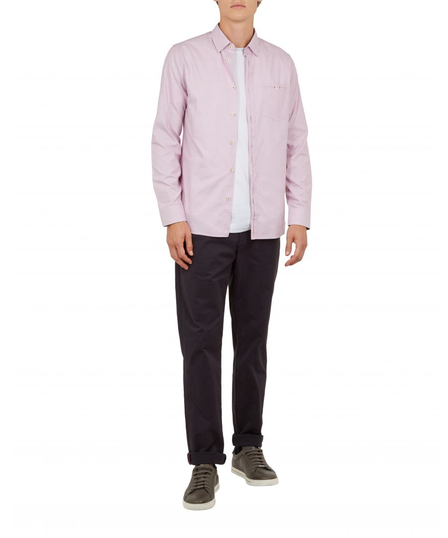 Image for Ted Baker Brixton Long-sleeved End On End Shirt, Pink