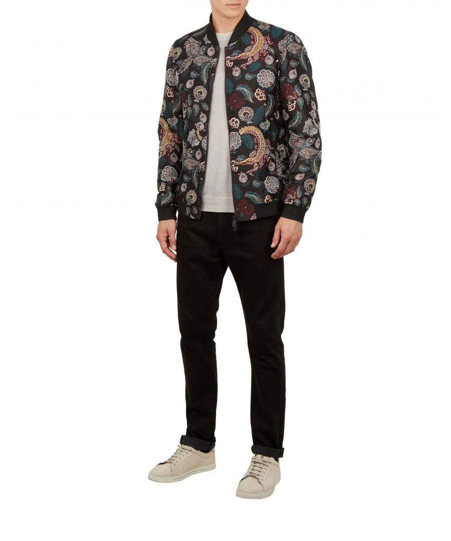 Image for Ted Baker Queso Tiger Jacquard Bomber, Dark Red