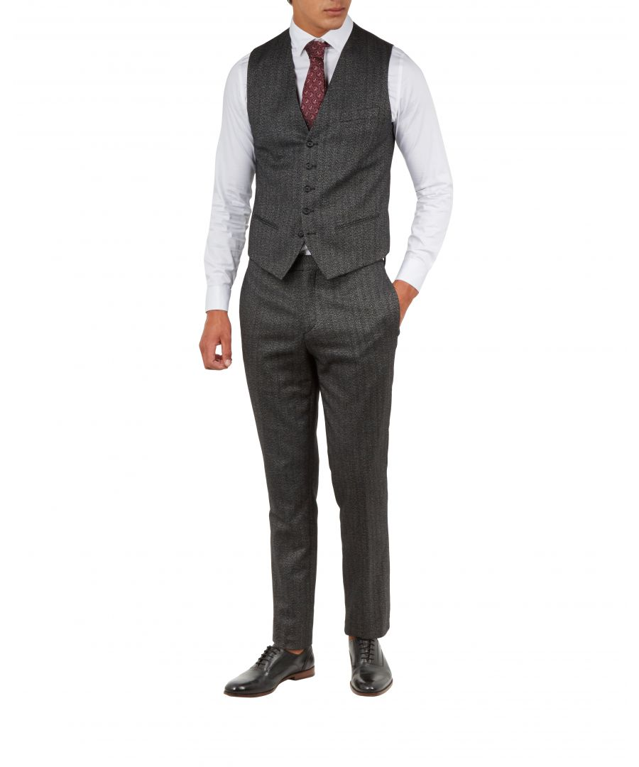 Image for Ted Baker Wenswai Semi Plain Waistcoat, Charcoal