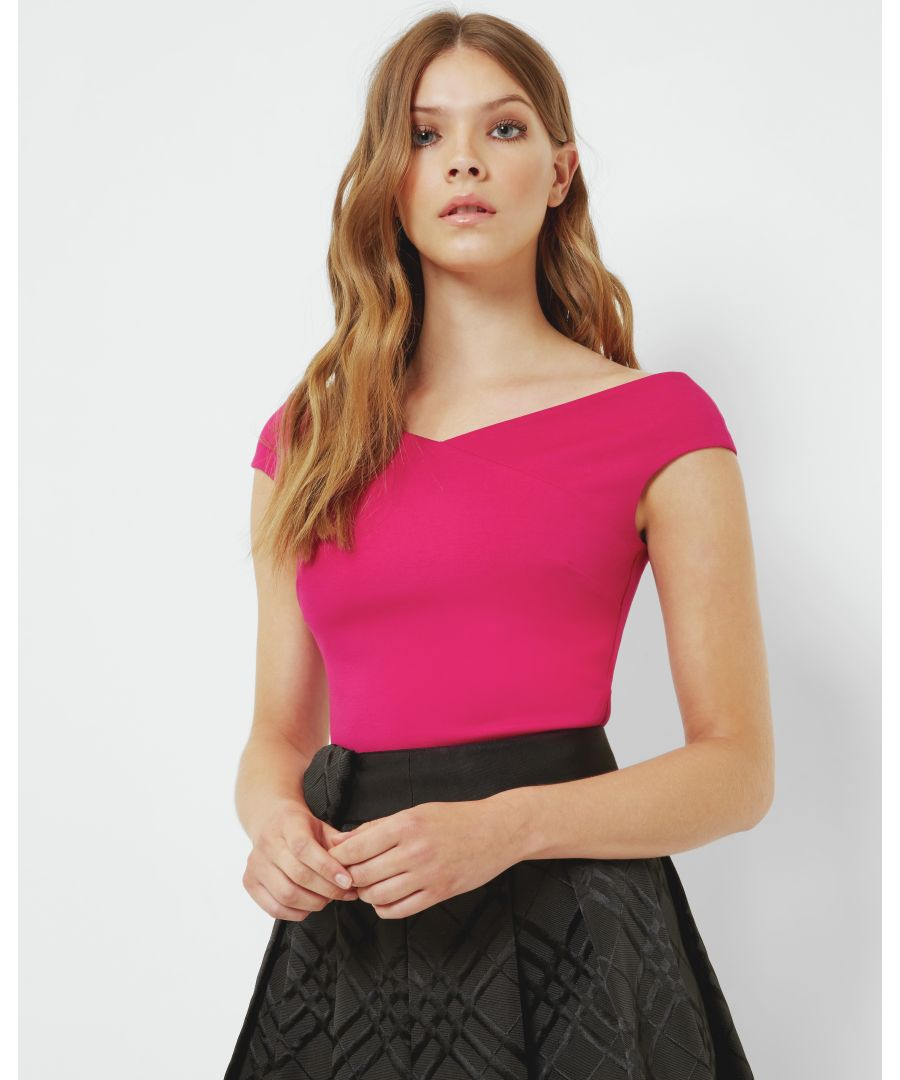 Image for Ted Baker Teimah Cropped Bardot Top, Bright Pink
