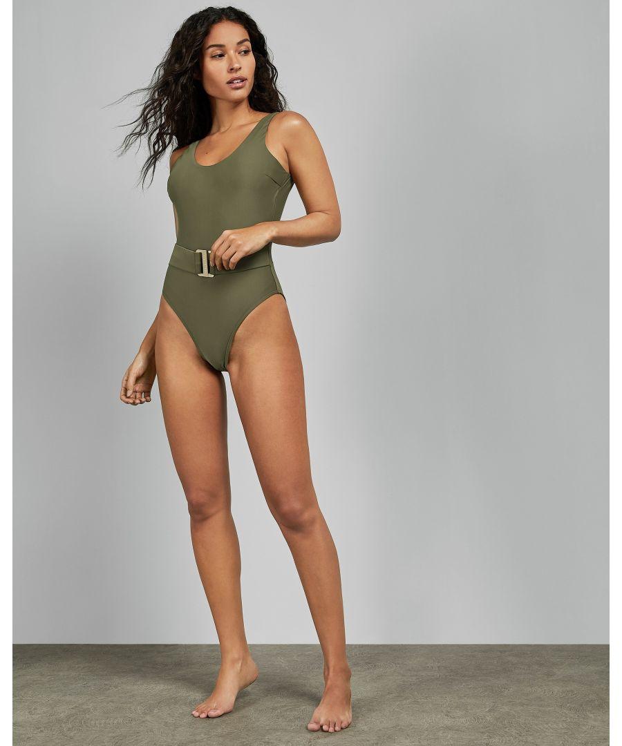Image for Ted Baker Telmora Scoop Neck Belted Swimsuit, Khaki