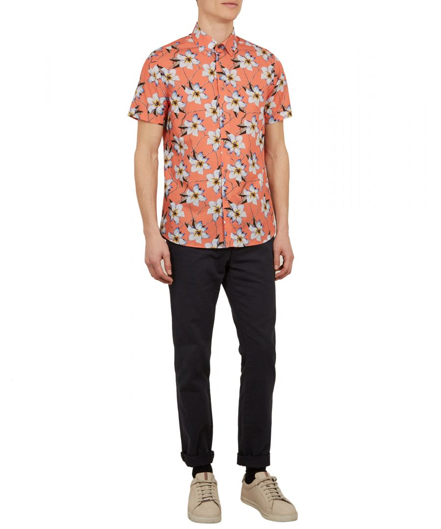 Image for Ted Baker Baboo Short-sleeved Floral Print Shirt, Coral