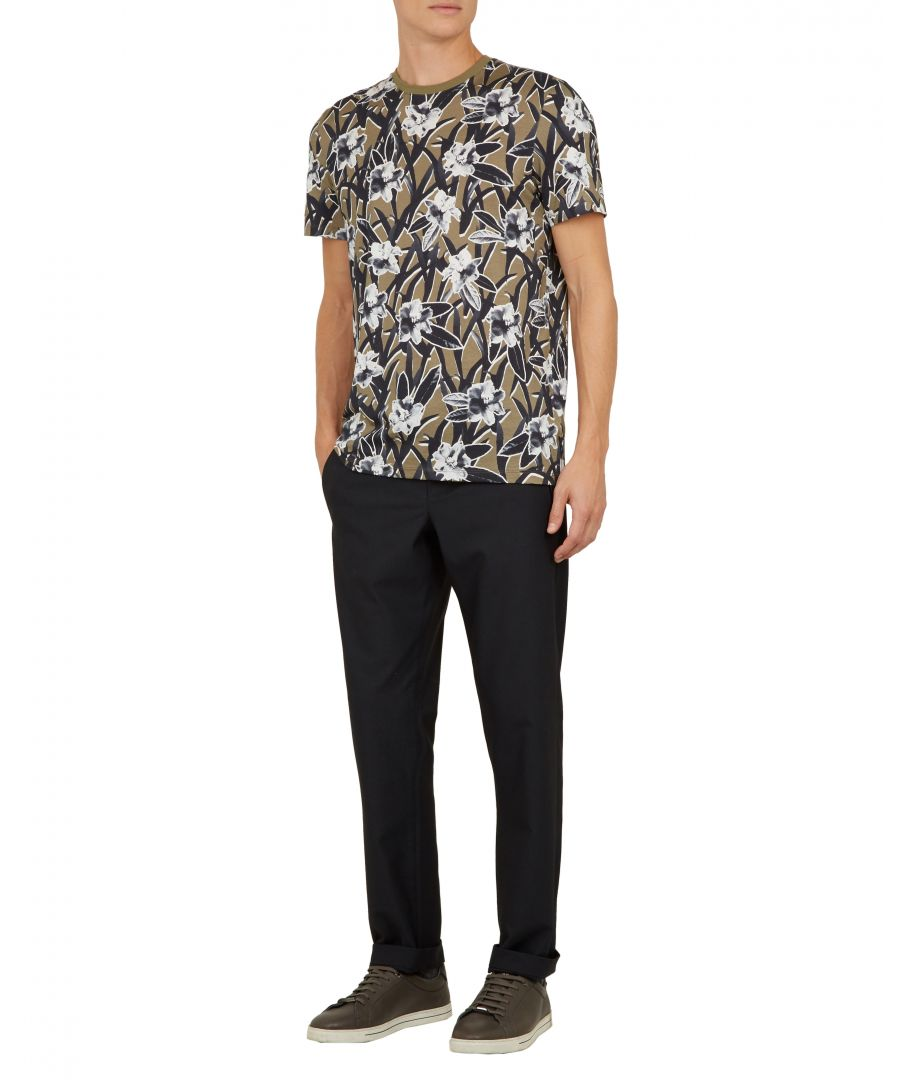 Image for Ted Baker Camp Short-Sleeved All Over Printed T Shirt, Khaki
