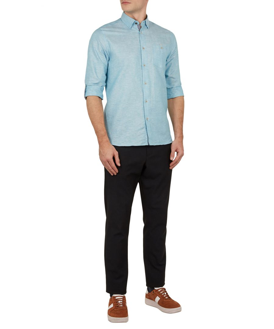 Image for Ted Baker Emuu Long-sleeved Linen Shirt, Turquoise