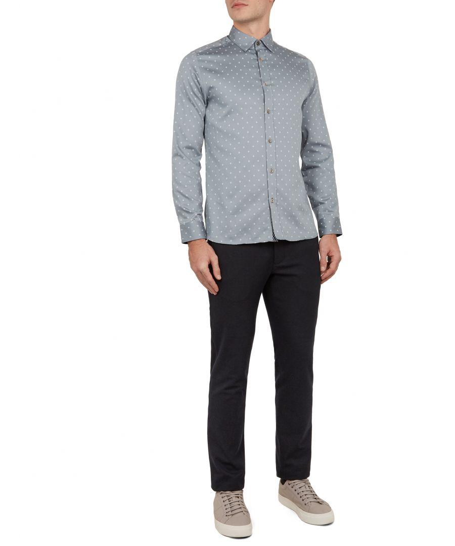 Image for Ted Baker Feret Long-sleeved Diamond Print Shirt, Grey