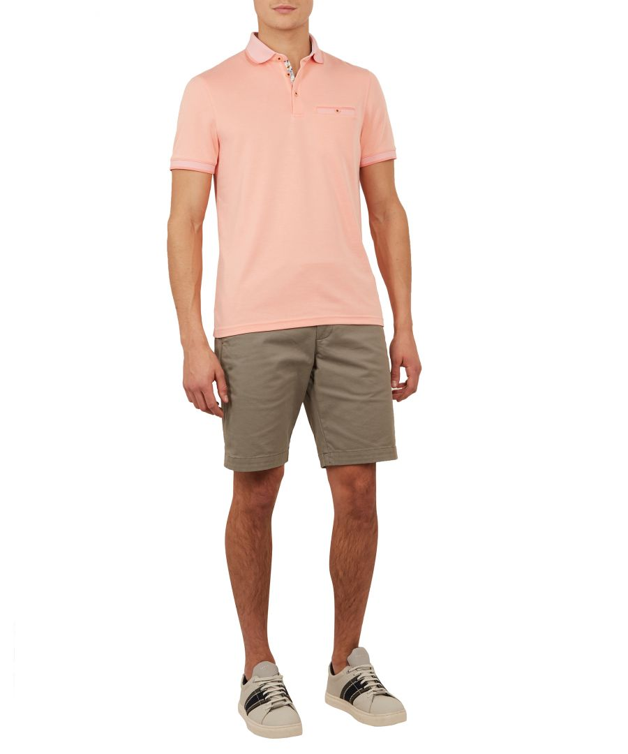 Image for Ted Baker Frog Short-sleeved Flat Knit Polynosic Polo, Coral