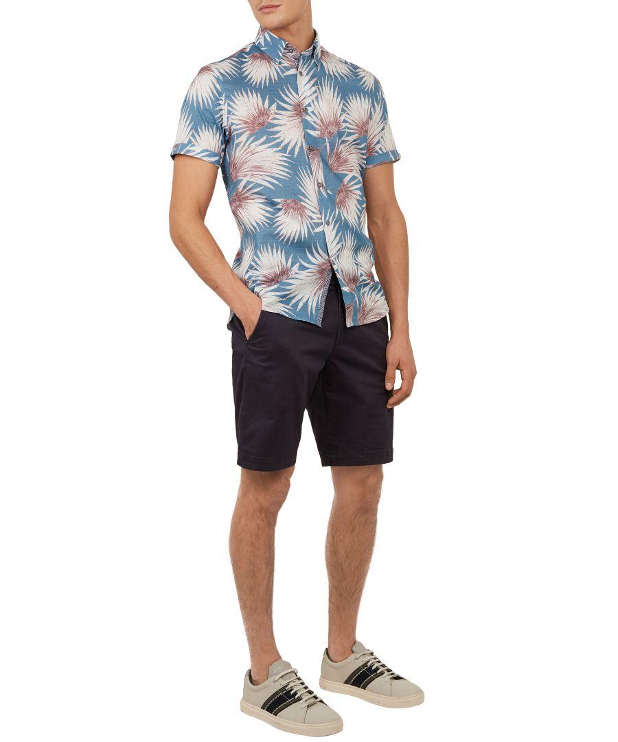 Image for Ted Baker Hedgeog Short-Sleeved Palm Print Shirt, Blue
