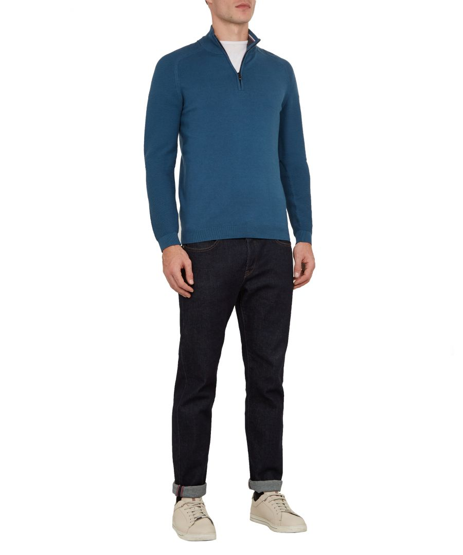 Image for Ted Baker Justrun Long-sleeved Link Stitch Funnel Neck, Mid Blue