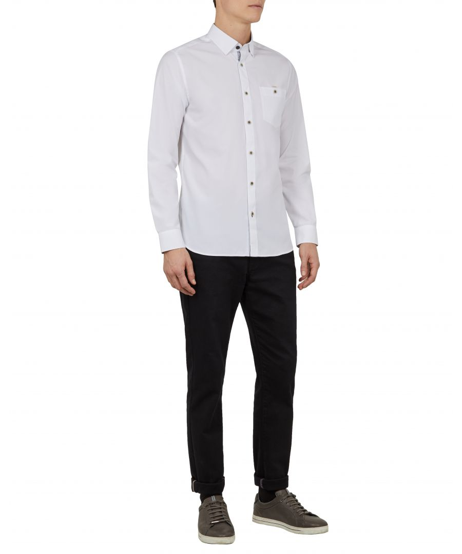 Image for Ted Baker Kickit Long-sleeved Soft End On End Shirt, White