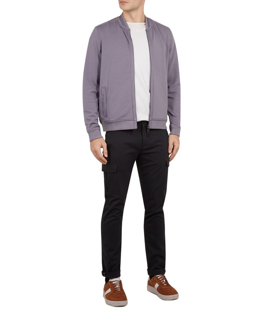 Image for Ted Baker Livid Long-sleeved Bomber With Woven Panels, Lilac