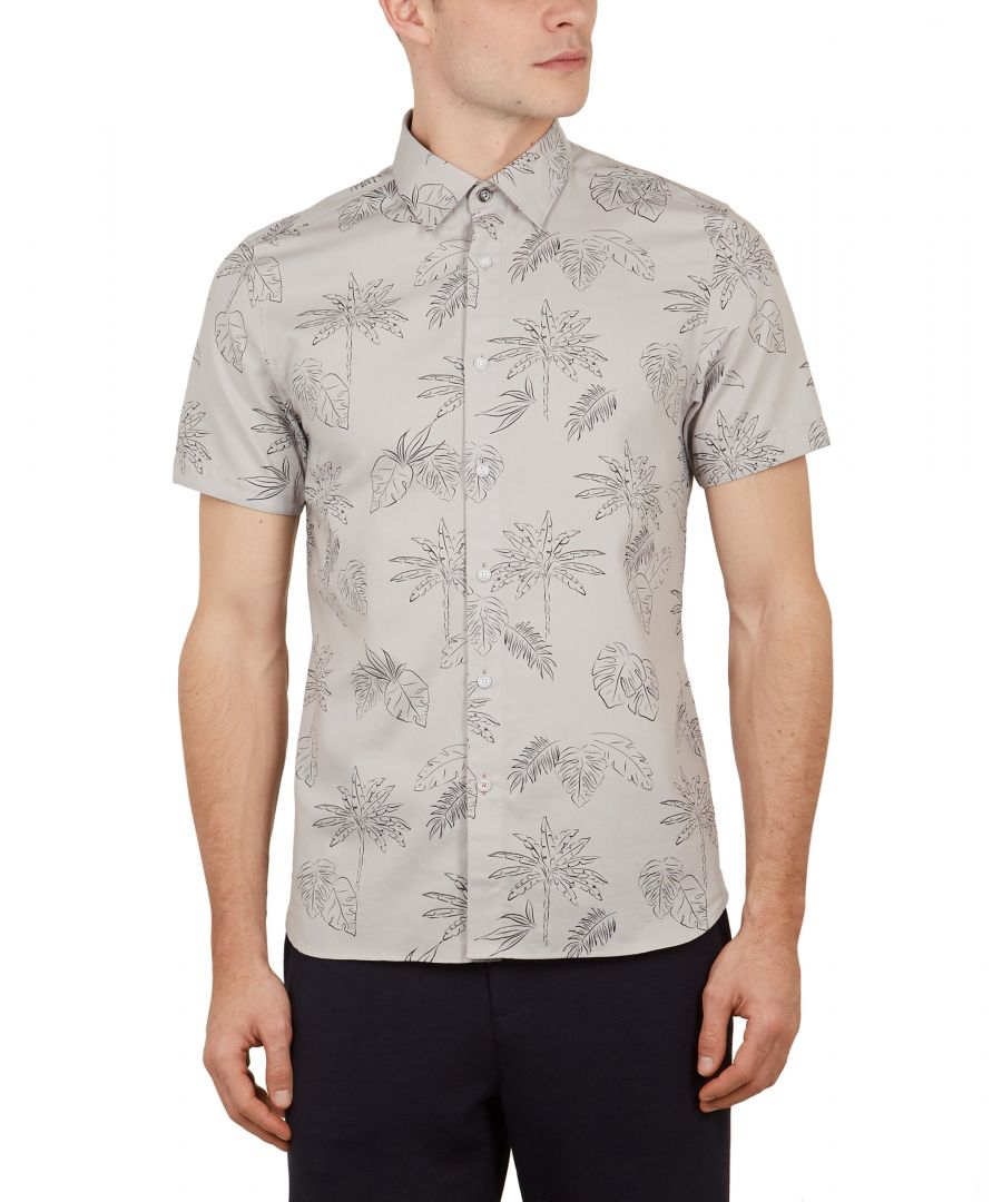 Image for Ted Baker Lushh Palm Print Cotton Shirt, Light Grey