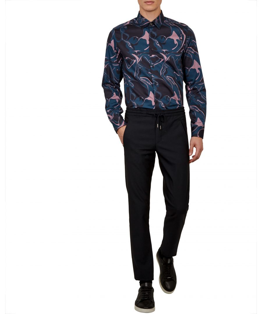 Image for Ted Baker Marbell Long-sleeved Marble Print Shirt, Navy