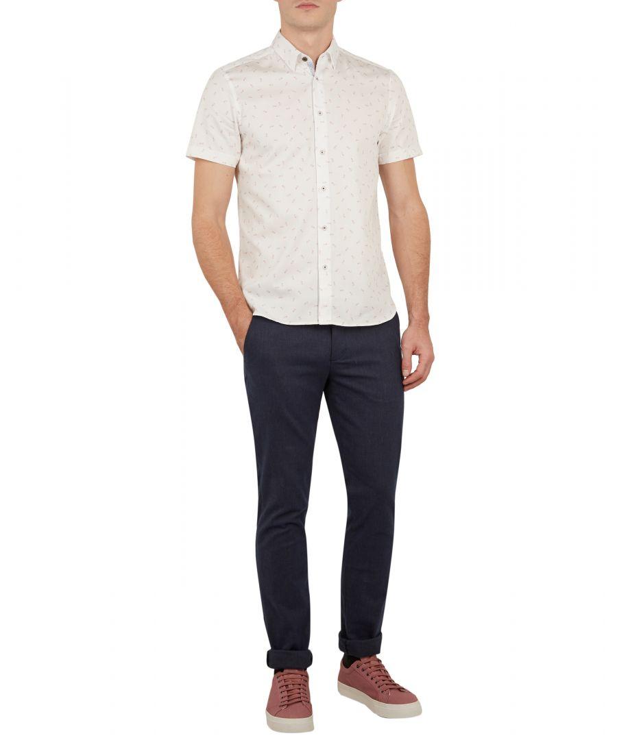 Image for Ted Baker Piapple Short-sleeved Pineapple Print Shirt, White