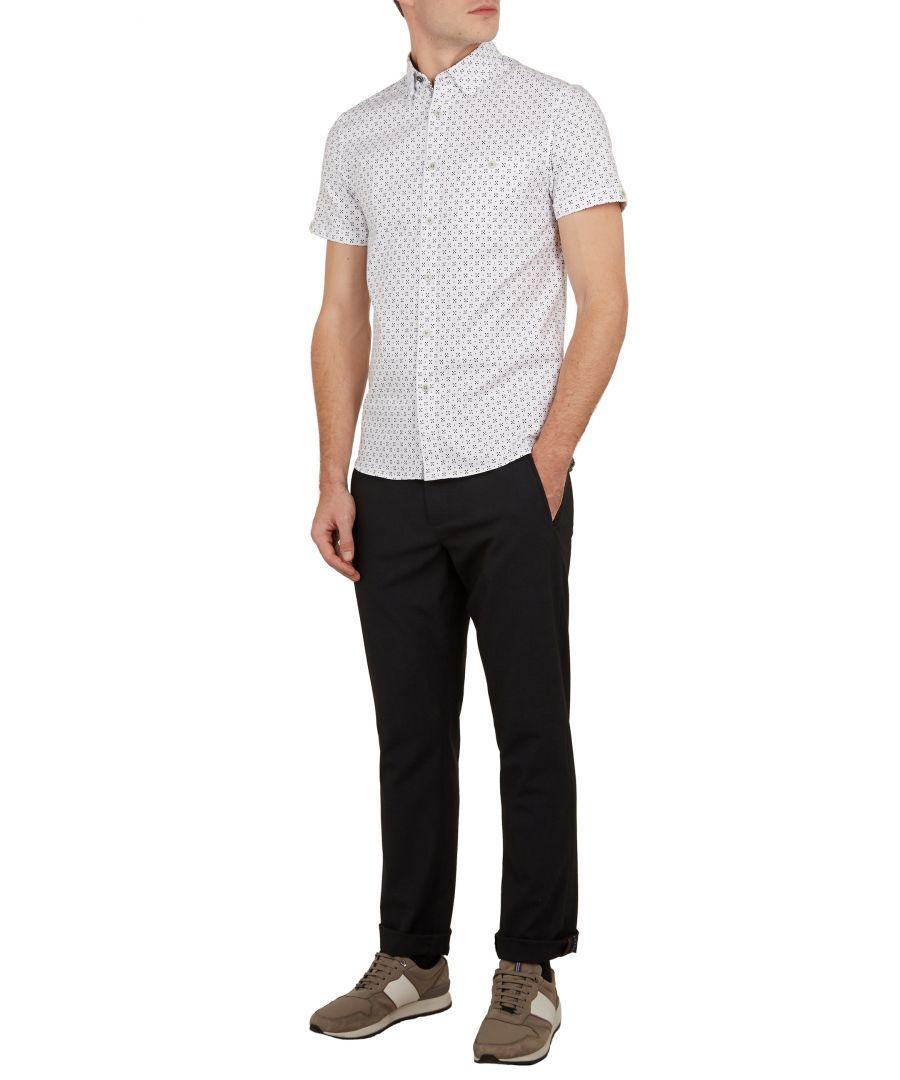 Image for Ted Baker Polarbe Short-Sleeved Small Dot Print Shirt, White