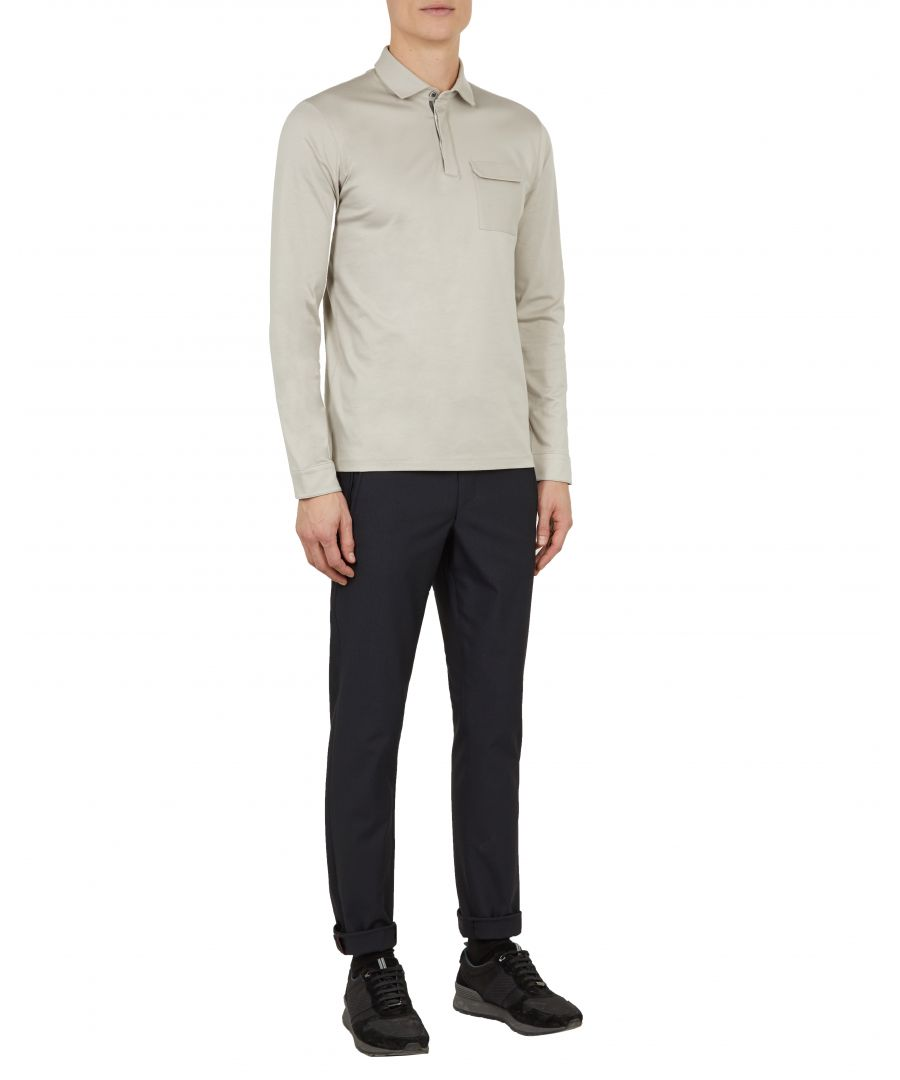 Image for Ted Baker Python Long-sleeved Polo With Chest Pockets, Taupe