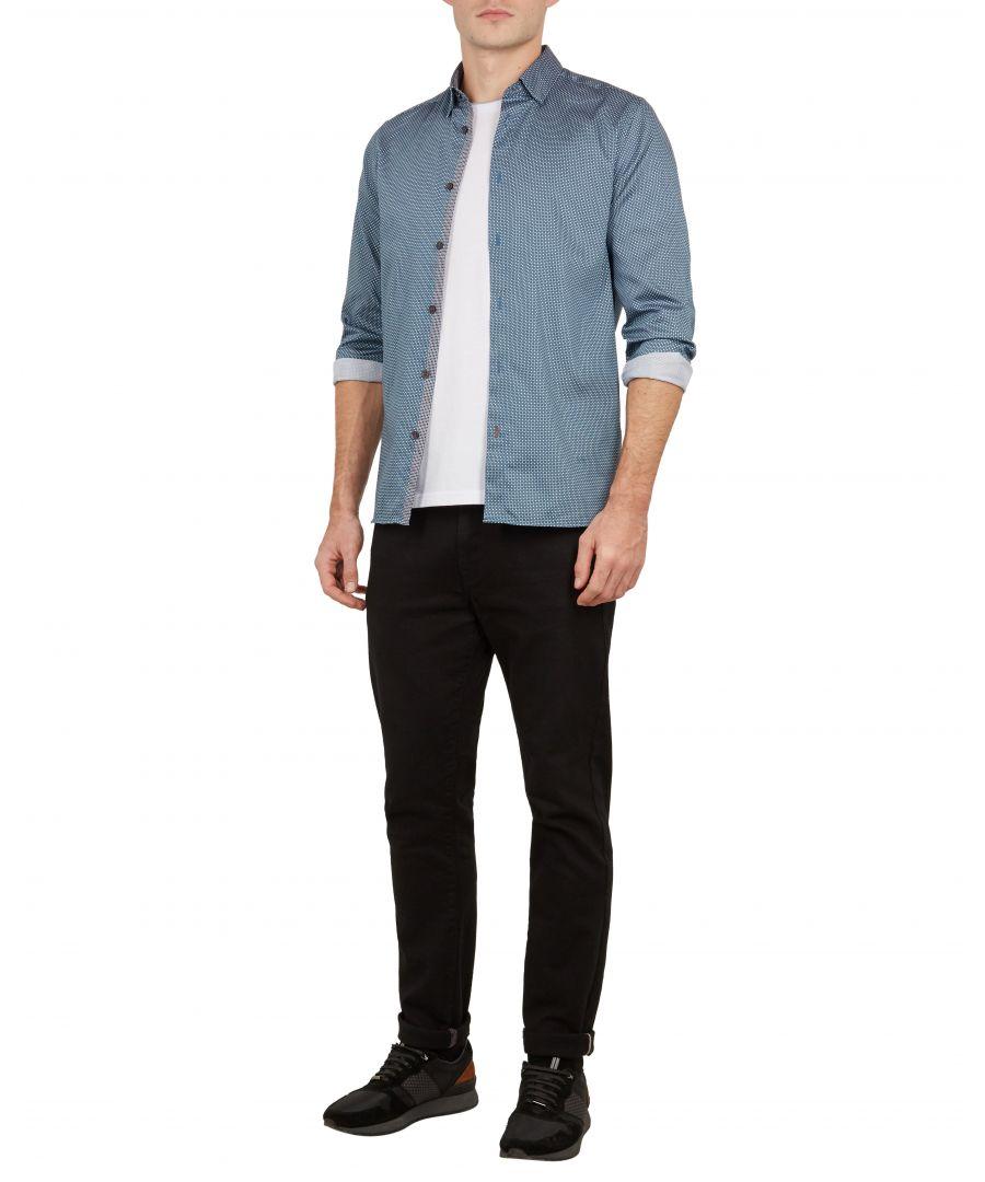 Image for Ted Baker Subik Long-sleeved Geo Print Shirt, Blue