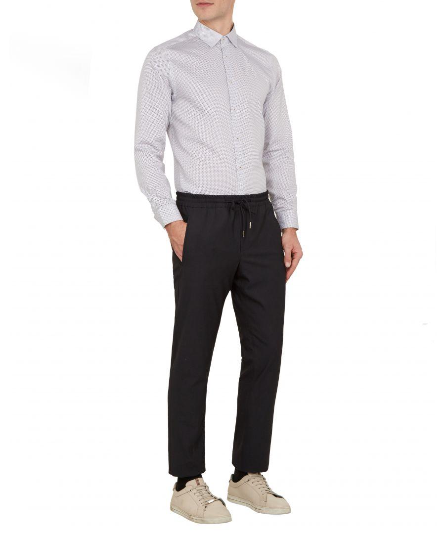 Image for Ted Baker Subik Long-sleeved Geo Print Shirt, White