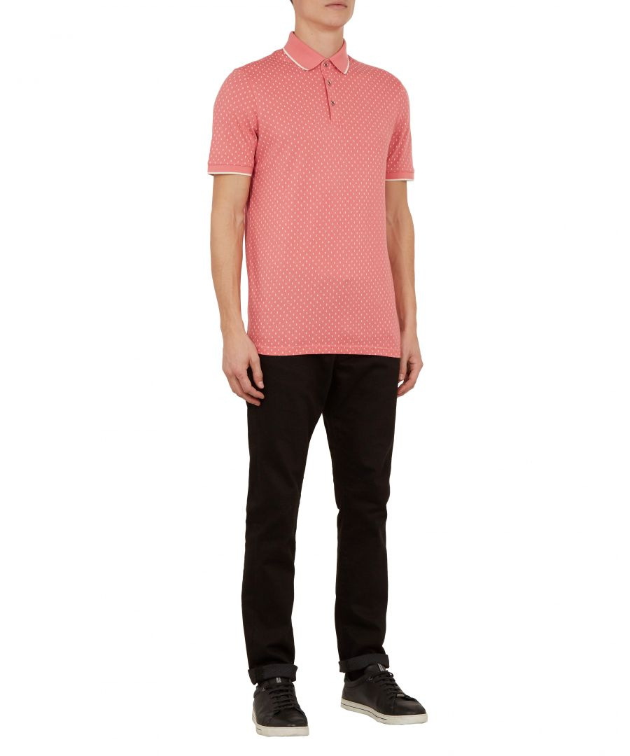 Image for Ted Baker Toff Short-sleeved All Over Geo Printed Polo, Coral