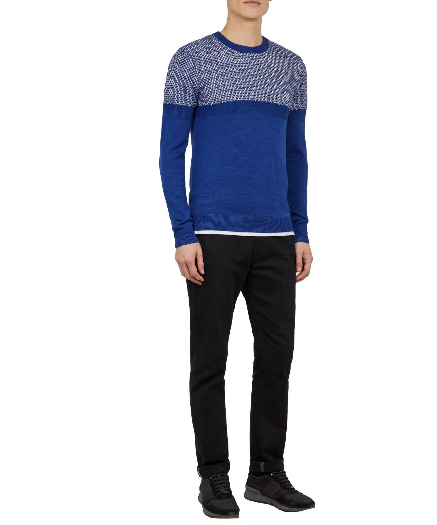 Image for Ted Baker Yeting Interest Stitch Crew Neck, Blue