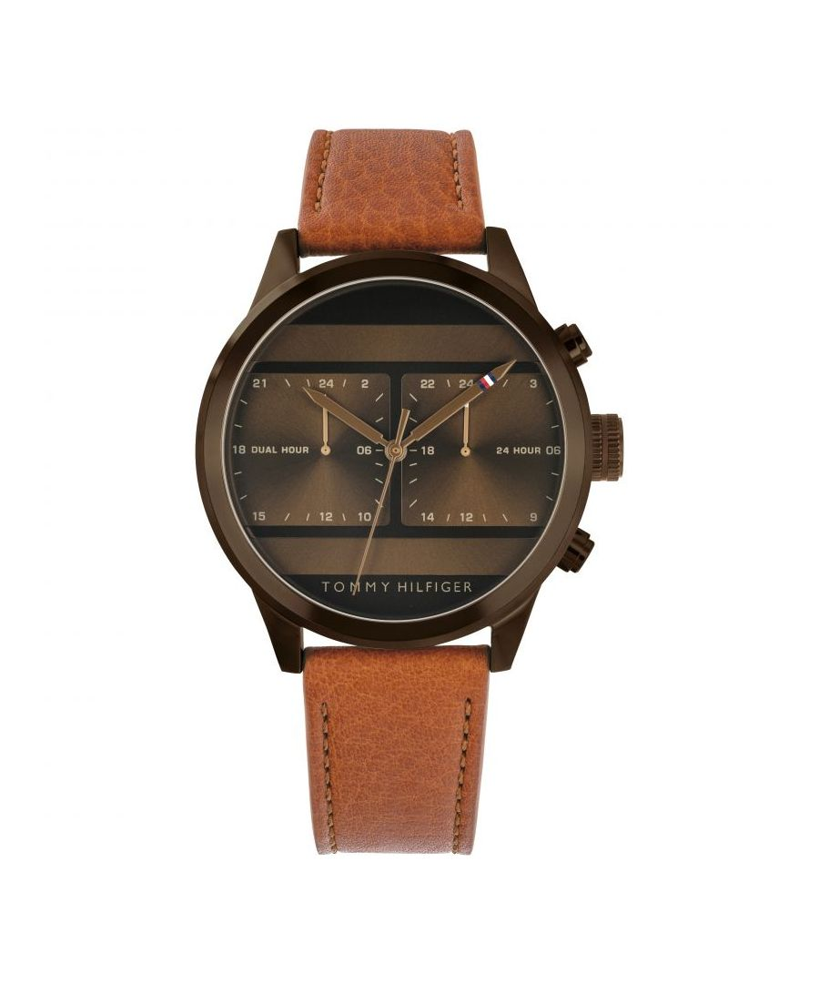 Image for Tommy Hilfiger Men's Brown Stainless Steel Brown Leather Strap Dual Time Watch