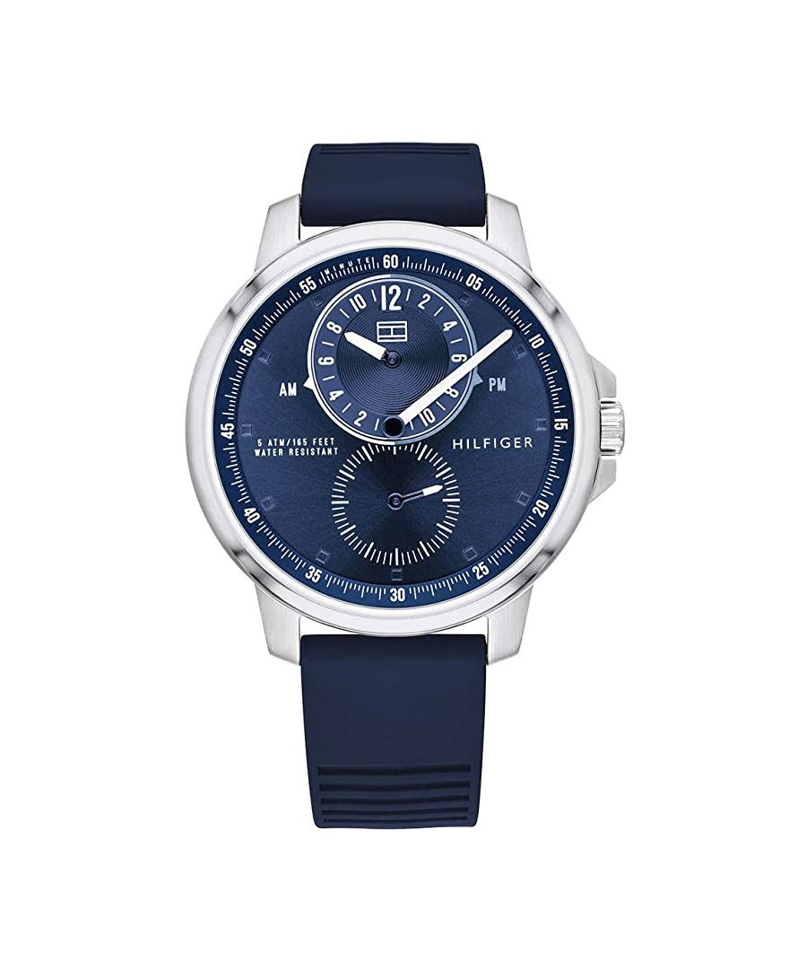 Image for Tommy Hilfiger Gents Multi Dial Quartz Watch with Blue Silicone Strap