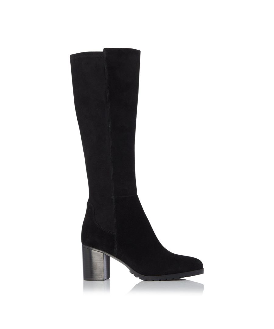 Image for Dune Ladies TITAIN Stretch Cleated Knee High Block Heel Boots