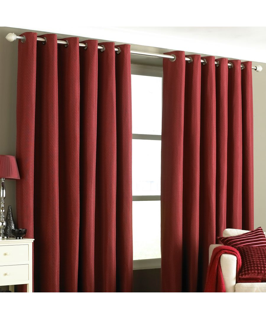 Image for Tobago Textured Eyelet Curtains in Burgundy