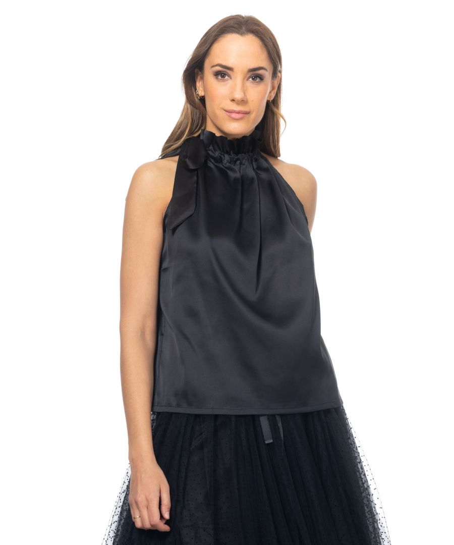 Image for Satin top with elastic neck and loop