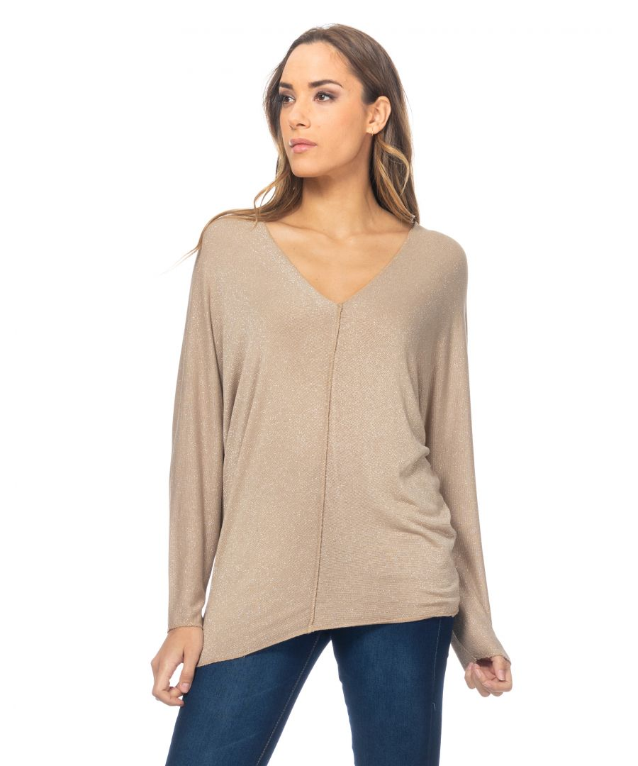 Image for Lurex top with V-neck and back